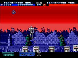 In game image of T2 - The Arcade Game on the Sega Genesis.
