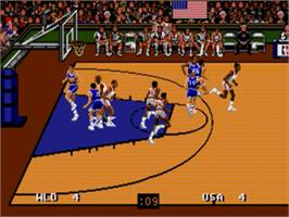 In game image of Team USA Basketball on the Sega Genesis.