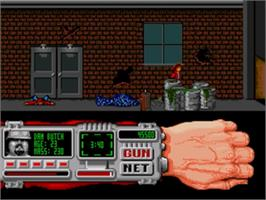 In game image of Techno Cop on the Sega Genesis.