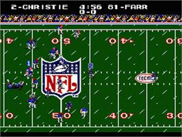 In game image of Tecmo Super Bowl on the Sega Genesis.