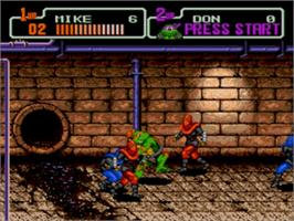 In game image of Teenage Mutant Ninja Turtles: The HyperStone Heist on the Sega Genesis.