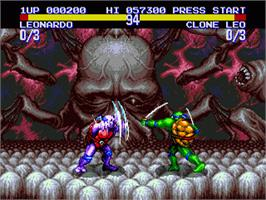 In game image of Teenage Mutant Ninja Turtles: Tournament Fighters on the Sega Genesis.