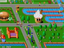 In game image of Theme Park on the Sega Genesis.