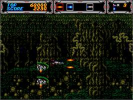 In game image of Thunder Force III on the Sega Genesis.