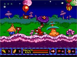 In game image of ToeJam & Earl in Panic on Funkotron on the Sega Genesis.
