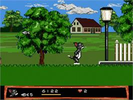 In game image of Tom and Jerry - Frantic Antics on the Sega Genesis.