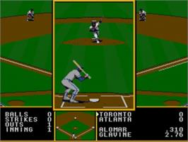 In game image of Tony La Russa Baseball on the Sega Genesis.