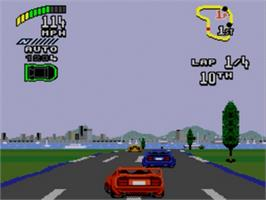 In game image of Top Gear 2 on the Sega Genesis.