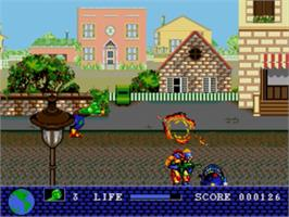 In game image of Toxic Crusaders on the Sega Genesis.