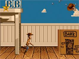 In game image of Toy Story on the Sega Genesis.