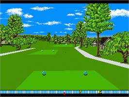 In game image of True Golf Classics: Pebble Beach Golf Links on the Sega Genesis.