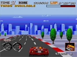 In game image of Turbo Out Run on the Sega Genesis.