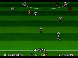 In game image of Ultimate Soccer on the Sega Genesis.