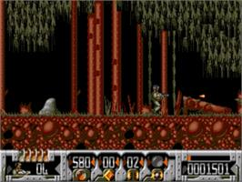 In game image of Universal Soldier on the Sega Genesis.