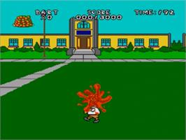 In game image of Virtual Bart on the Sega Genesis.