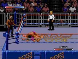 In game image of WWF Royal Rumble on the Sega Genesis.