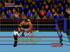 In game image of WWF Super Wrestlemania on the Sega Genesis.