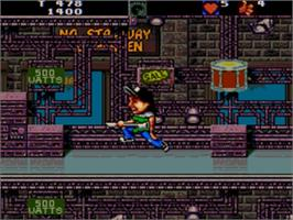 In game image of Wayne's World on the Sega Genesis.