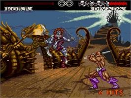 In game image of Weaponlord on the Sega Genesis.