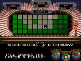 In game image of Wheel Of Fortune on the Sega Genesis.