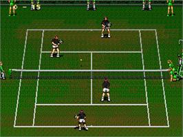 In game image of Wimbledon Championship Tennis on the Sega Genesis.