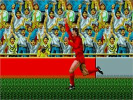 In game image of World Championship Soccer on the Sega Genesis.