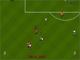In game image of World Cup USA '94 on the Sega Genesis.