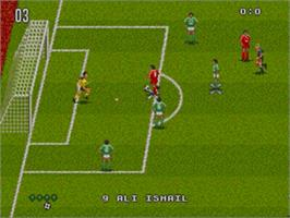 In game image of World Trophy Soccer on the Sega Genesis.