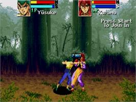 In game image of Yu Yu Hakusho: Makyou Toitsusen on the Sega Genesis.