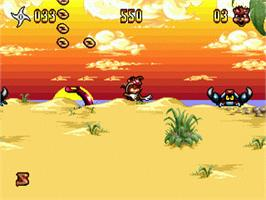 In game image of Zero the Kamikaze Squirrel on the Sega Genesis.