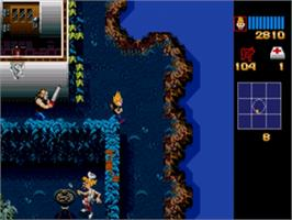 In game image of Zombies Ate My Neighbors on the Sega Genesis.