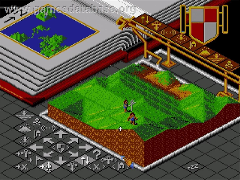 In game image of Populous on the Sega Genesis.