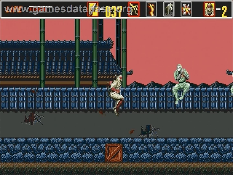 In game image of Revenge of Shinobi, The on the Sega Genesis.