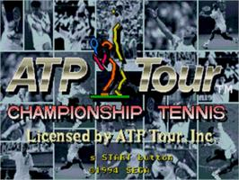 Title screen of ATP Tour Championship Tennis on the Sega Genesis.