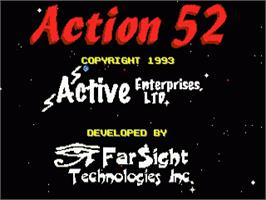 Title screen of Action 52 on the Sega Genesis.