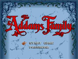 Title screen of Addams Family, The on the Sega Genesis.