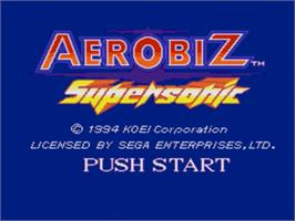 Title screen of Aerobiz Supersonic on the Sega Genesis.