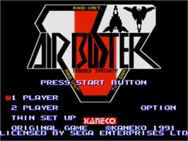 Title screen of Air Buster on the Sega Genesis.