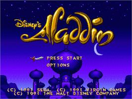 Title screen of Aladdin on the Sega Genesis.