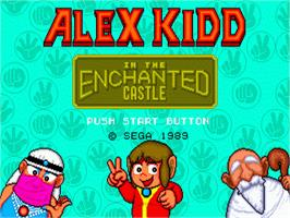 Title screen of Alex Kidd in the Enchanted Castle on the Sega Genesis.