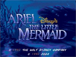 Title screen of Ariel the Little Mermaid on the Sega Genesis.