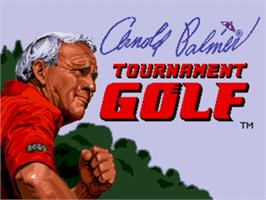 Title screen of Arnold Palmer Tournament Golf on the Sega Genesis.