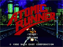 Title screen of Atomic Runner on the Sega Genesis.
