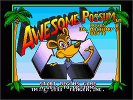 Title screen of Awesome Possum Kicks Dr. Machino's Butt on the Sega Genesis.