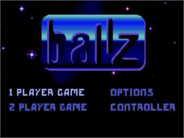 Title screen of Ballz 3D on the Sega Genesis.