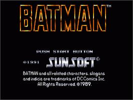 Title screen of Batman: The Video Game on the Sega Genesis.