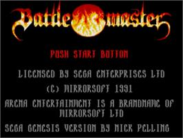 Title screen of Battle Master on the Sega Genesis.
