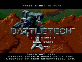 Title screen of Battletech: A Game of Armored Combat on the Sega Genesis.