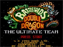 Title screen of Battletoads & Double Dragon: The Ultimate Team on the Sega Genesis.