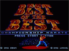 Title screen of Best of the Best Championship Karate on the Sega Genesis.